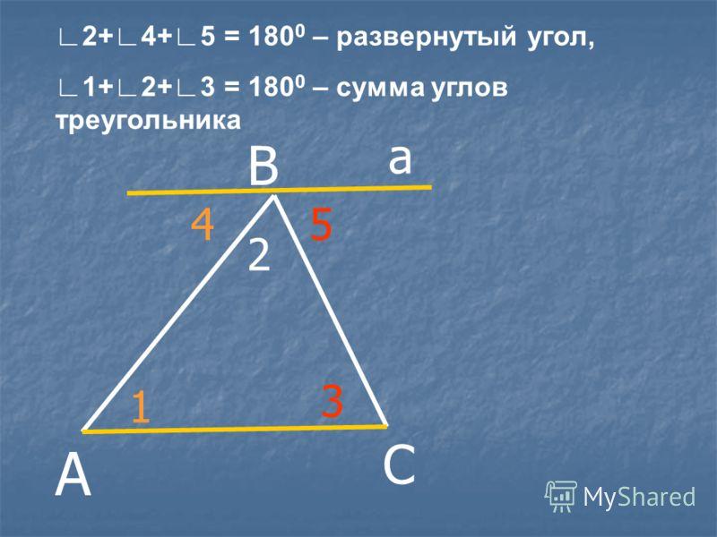 А С 1 3 2 В а 45 2+4+5 = 180 0 – развернутый угол, 1+2+3 = 180 0 – сумма углов треугольника