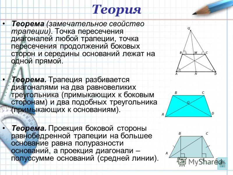 6 Теорема (замечательное свойство трапеции). Точка пересечения диагоналей любой трапеции, точка пересечения продолжений боковых сторон и середины оснований лежат на одной прямой. Теорема. Трапеция разбивается диагоналями на два равновеликих треугольн