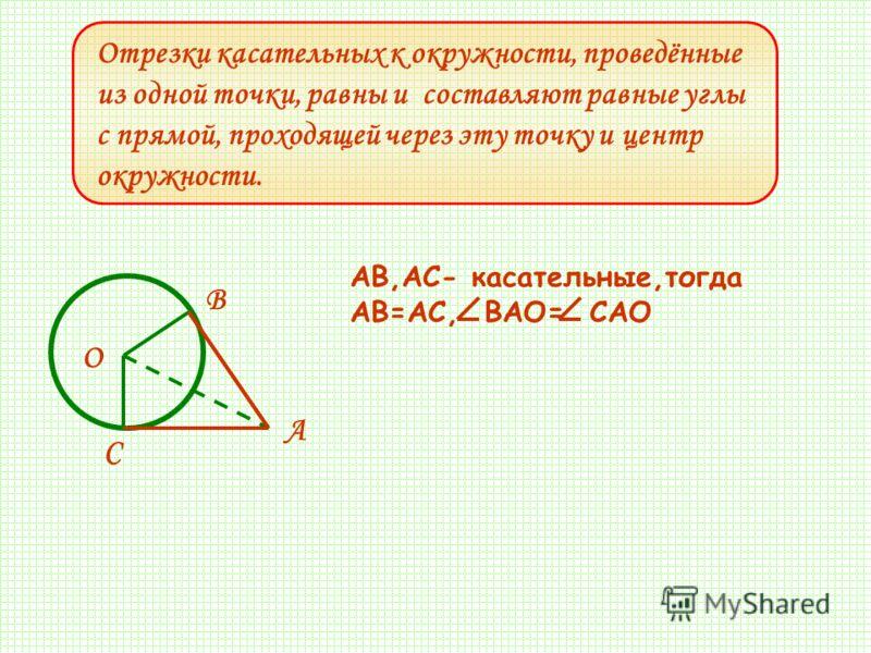 Отрезки касательных к окружности, проведённые из одной точки, равны и составляют равные углы с прямой, проходящей через эту точку и центр окружности. A O C B AB,AC- касательныe,тогда AB=AC, BAO= CAO