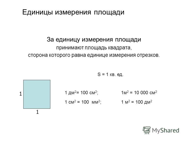 За единицу измерения площади принимают площадь квадрата, сторона которого равна единице измерения отрезков. 1 1 Единицы измерения площади 1 дм 2 = 100 см 2 ; 1м 2 = 10 000 см 2 1 см 2 = 100 мм 2 ; 1 м 2 = 100 дм 2 S = 1 кв. ед.