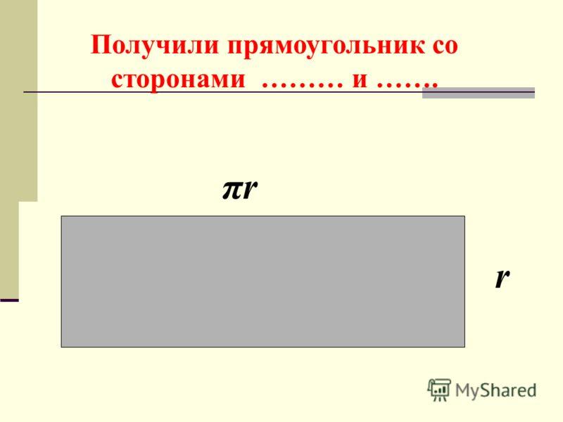 Получили прямоугольник со сторонами ……… и ……. πrπr r