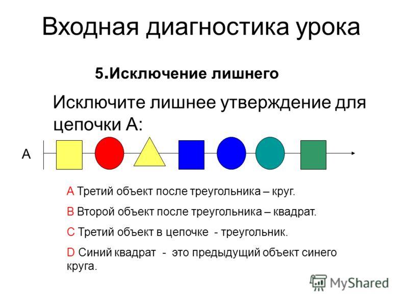 Исключите лишнее утверждение для цепочки А: 5. Исключение лишнего A Третий объект после треугольника – круг. B Второй объект после треугольника – квадрат. C Третий объект в цепочке - треугольник. D Синий квадрат - это предыдущий объект синего круга.