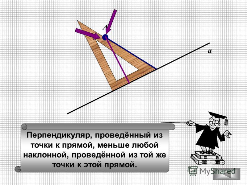 Перпендикуляр, проведённый из точки к прямой, меньше любой наклонной, проведённой из той же точки к этой прямой. а А