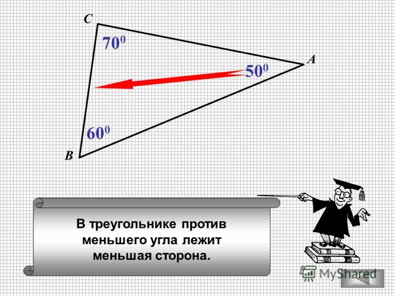 В треугольнике против меньшего угла лежит меньшая сторона. А В С 60 0 70 0 50 0