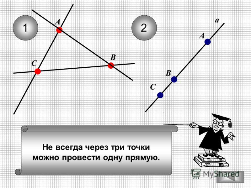 Не всегда через три точки можно провести одну прямую. 12 С А В а А В С