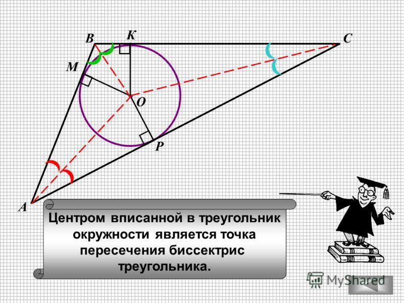 ВС А М К Р Центром вписанной в треугольник окружности является точка пересечения биссектрис треугольника. О
