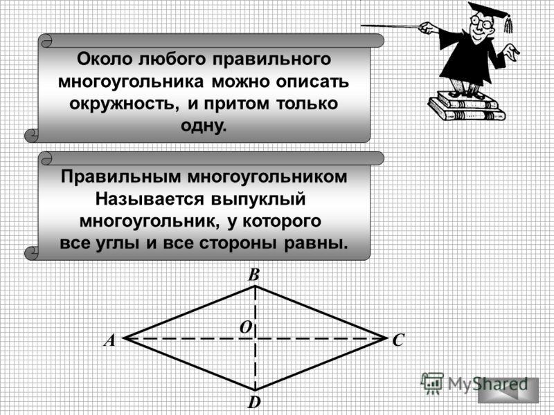 Около любого правильного многоугольника можно описать окружность, и притом только одну. Правильным многоугольником Называется выпуклый многоугольник, у которого все углы и все стороны равны. В С D А O