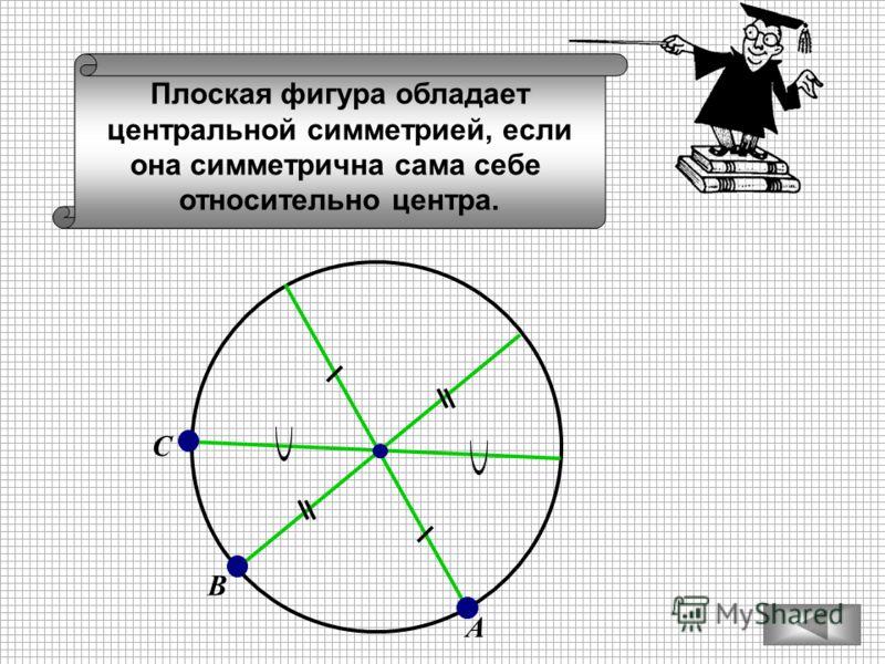 Плоская фигура обладает центральной симметрией, если она симметрична сама себе относительно центра. А С В