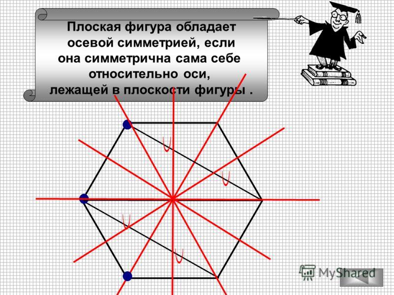 Плоская фигура обладает осевой симметрией, если она симметрична сама себе относительно оси, лежащей в плоскости фигуры.