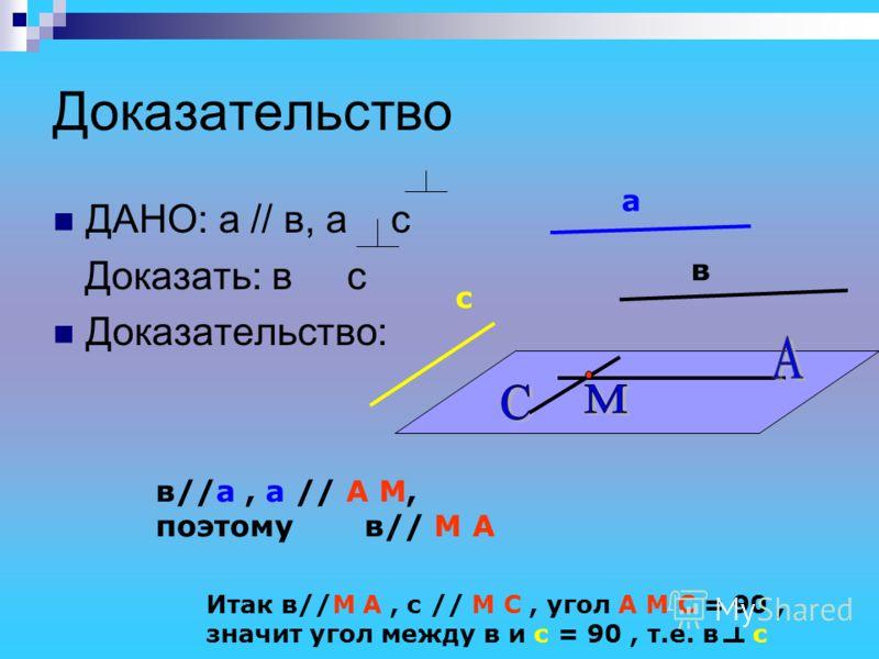 Доказательство ДАНО: а // в, а с Доказать: в с Доказательство: а в с в//а, а // А М, поэтому в// М А Итак в//М А, с // М С, угол А М С = 90, значит угол между в и с = 90, т.е. в с