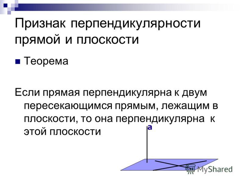 Признак перпендикулярности прямой и плоскости Теорема Если прямая перпендикулярна к двум пересекающимся прямым, лежащим в плоскости, то она перпендикулярна к этой плоскости а