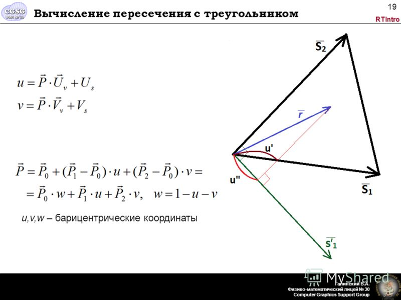 RTIntro Галинский В.А. Физико-математический лицей 30 Computer Graphics Support Group 19 Вычисление пересечения с треугольником u,v,w – барицентрические координаты