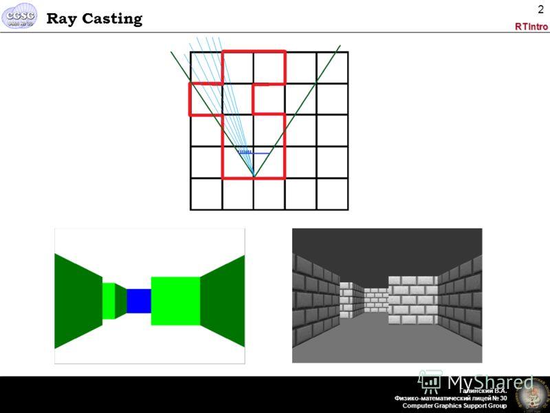 RTIntro Галинский В.А. Физико-математический лицей 30 Computer Graphics Support Group 2 Ray Casting