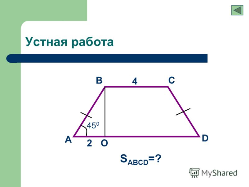 Устная работа A B C D 4 2 S ABCD =? О 45 0
