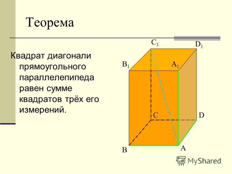 Теорема Квадрат диагонали прямоугольного параллелепипеда равен сумме квадратов трёх его измерений. A B CD B1B1 C1C1 D1D1 A1A1