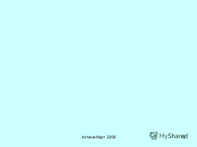 Астана Март 200618 Национальные регулирующие ведомства Министерства и – все в большей степени – Пищевые Агентства отвечаю за –Производство кормов и продовольствия –Сельское хозяйство (аспекты, связанные с пищевой безопасностью и безопасностью кормов)