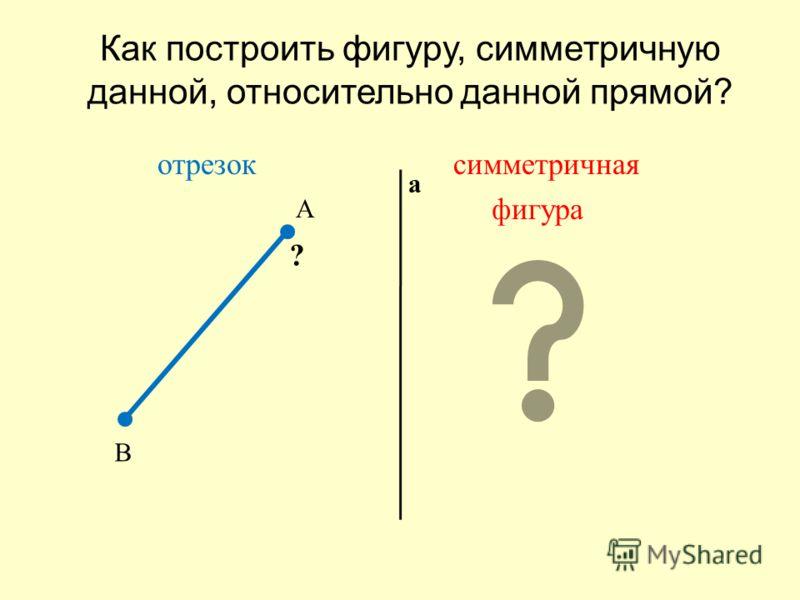 Как построить фигуру, симметричную данной, относительно данной прямой ? отрезок симметричная фигура А В а ?