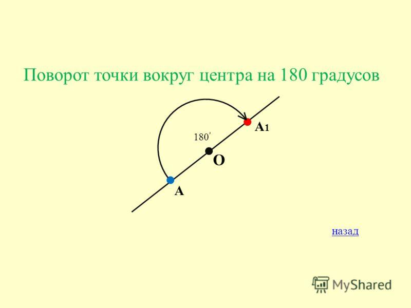 Поворот точки вокруг центра на 180 градусов А О А1А1 180 ْ назад