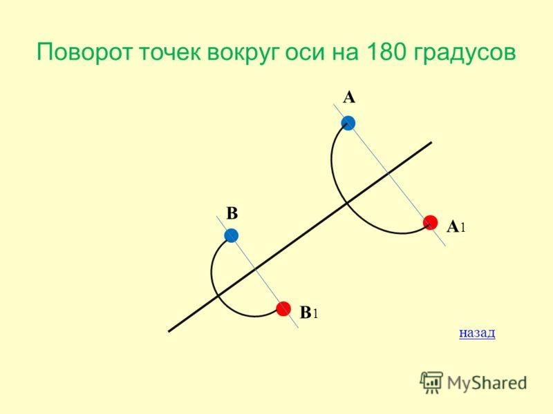 Поворот точек вокруг оси на 180 градусов А А1А1 В В1В1 назад