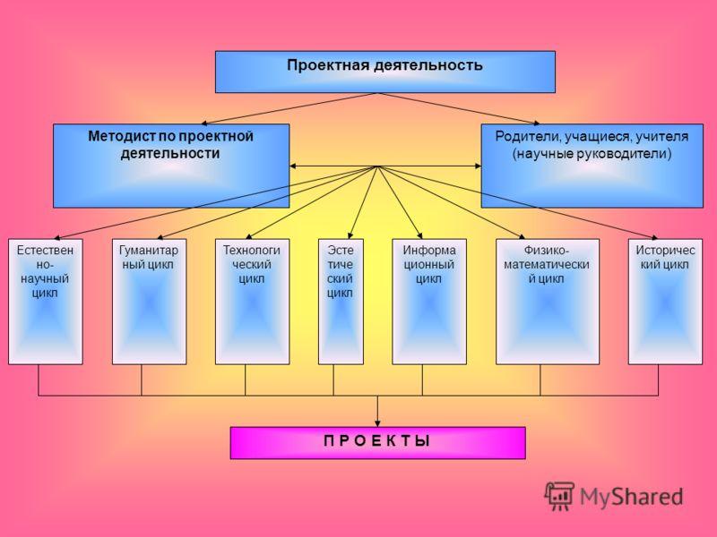 Проектная деятельность Методист по проектной деятельности Родители, учащиеся, учителя (научные руководители) Естествен но- научный цикл Гуманитар ный цикл Технологи ческий цикл Эсте тиче ский цикл Информа ционный цикл Физико- математически й цикл Ист