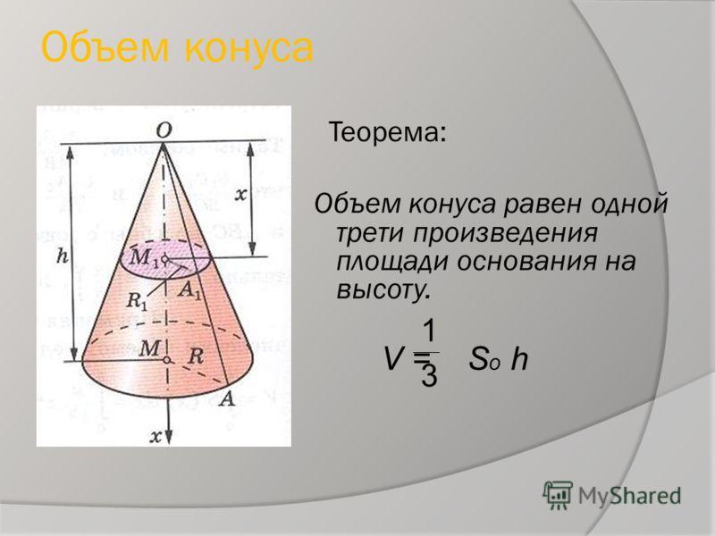 Объем конуса Теорема: Объем конуса равен одной трети произведения площади основания на высоту. V = S o h 1 3