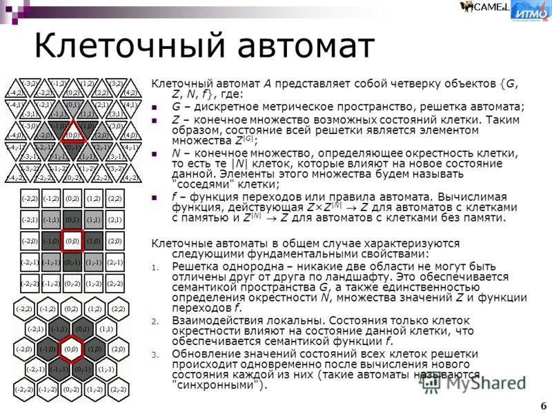 6 Клеточный автомат Клеточный автомат A представляет собой четверку объектов {G, Z, N, f}, где: G – дискретное метрическое пространство, решетка автомата; Z – конечное множество возможных состояний клетки. Таким образом, состояние всей решетки являет