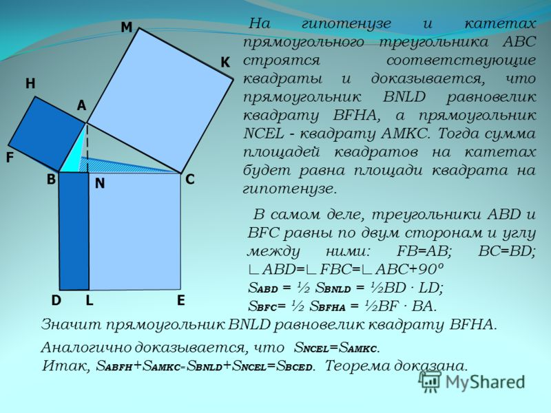 На гипотенузе и катетах прямоугольного треугольника АВС строятся соответствующие квадраты и доказывается, что прямоугольник BNLD равновелик квадрату BFHА, а прямоугольник NCEL - квадрату АMКС. Тогда сумма площадей квадратов на катетах будет равна пло