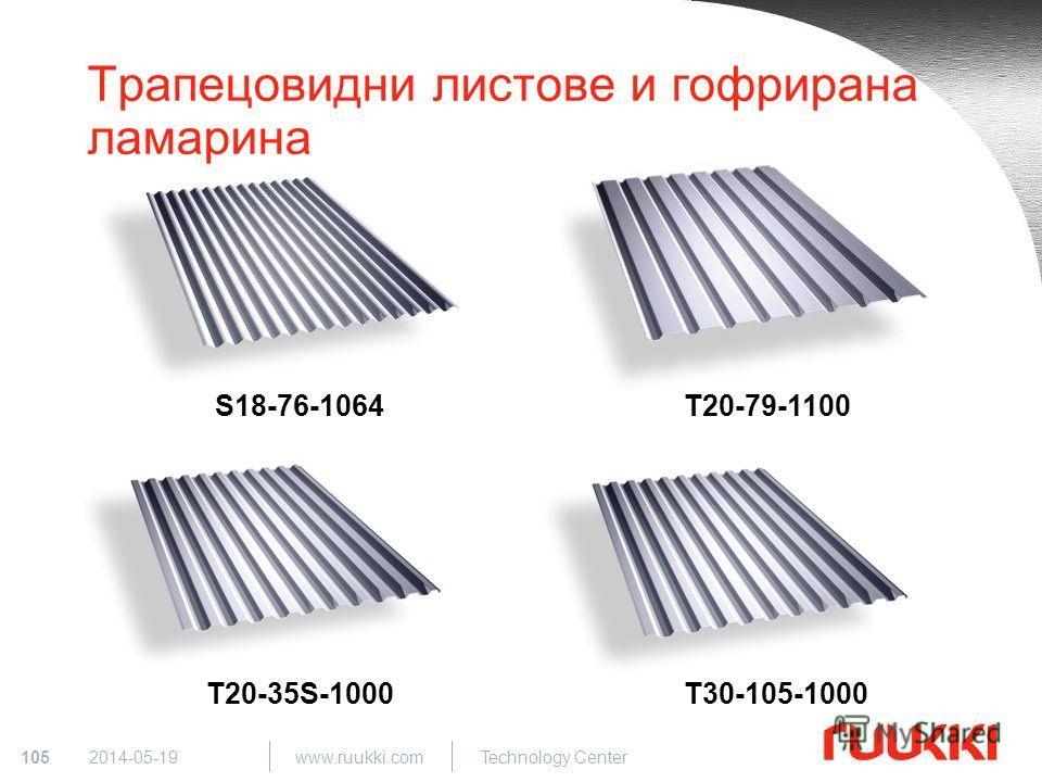 105 www.ruukki.com Technology Center 2014-05-19 Трапецовидни листове и гофрирана ламарина S18-76-1064T20-79-1100 T30-105-1000T20-35S-1000