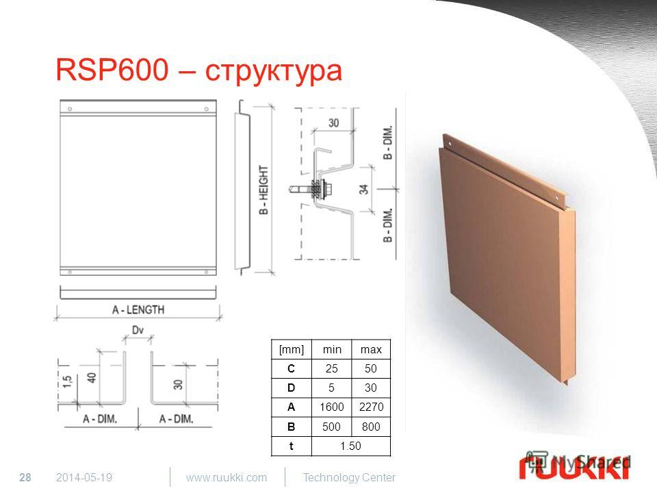 28 www.ruukki.com Technology Center 2014-05-19 RSP600 – структура [mm]minmax C2550 D530 A16002270 B500800 t1.50
