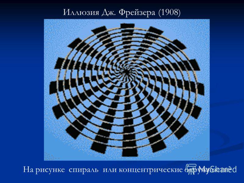 Иллюзия Дж. Фрейзера (1908) На рисунке спираль или концентрические окружности?