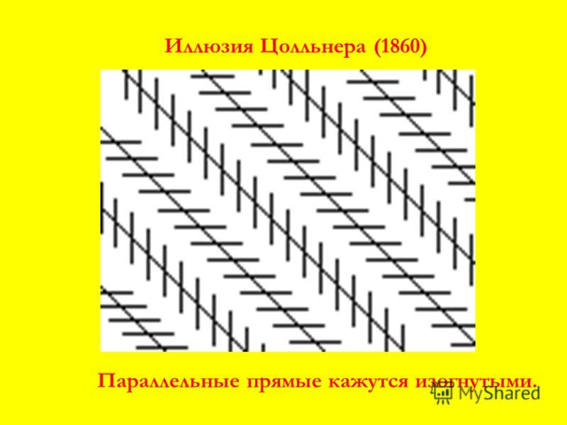 Иллюзия Цолльнера (1860) Параллельные прямые кажутся изогнутыми.