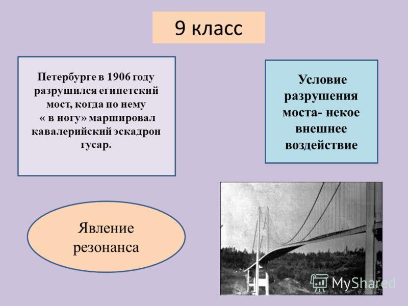 Петербурге в 1906 году разрушился египетский мост, когда по нему « в ногу» маршировал кавалерийский эскадрон гусар. Условие разрушения моста- некое внешнее воздействие Явление резонанса 9 класс