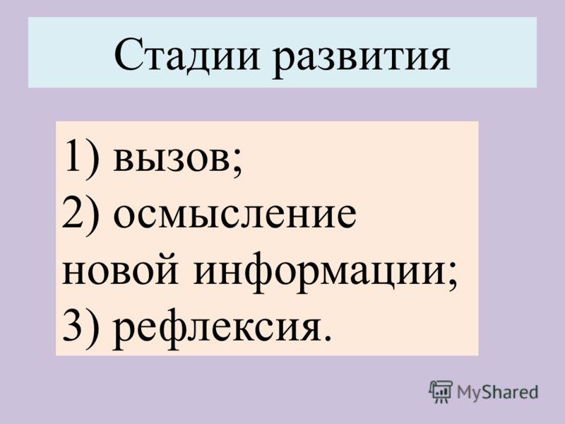 Стадии развития 1) вызов; 2) осмысление новой информации; 3) рефлексия.