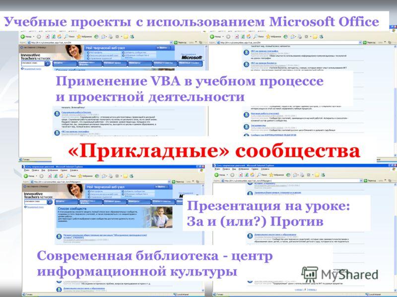 «Прикладные» сообщества Учебные проекты с использованием Microsoft Office Применение VBA в учебном процессе и проектной деятельности Презентация на уроке: За и (или?) Против Современная библиотека - центр информационной культуры
