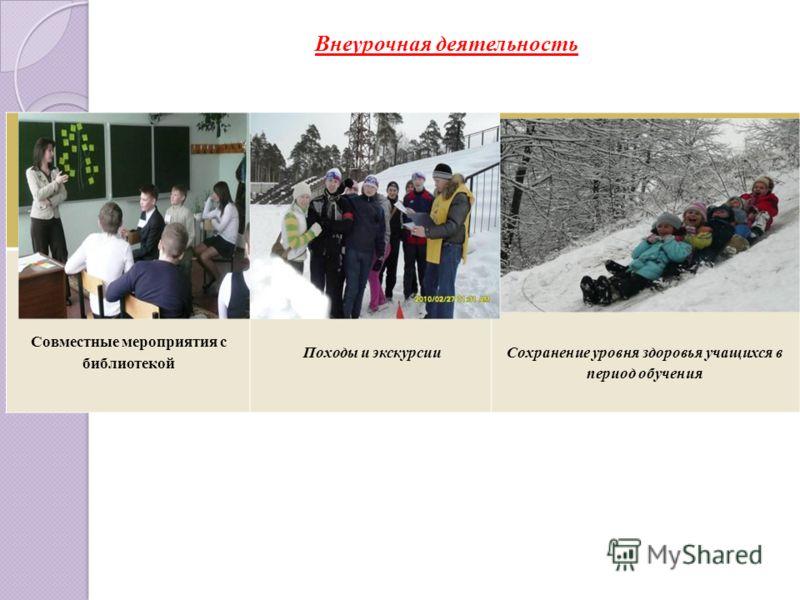 Внеурочная деятельность Совместные мероприятия с библиотекой Походы и экскурсииСохранение уровня здоровья учащихся в период обучения
