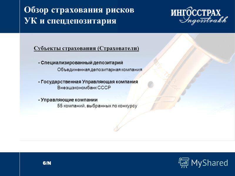 6/N Обзор страхования рисков УК и спецдепозитария Субъекты страхования (Страхователи) - Специализированный депозитарий Объединенная депозитарная компания - Государственная Управляющая компания Внеэшэкономбанк СССР - Управляющие компании 55 компаний,