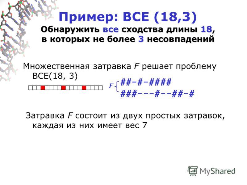 Обнаружить все сходства длины 18, в которых не более 3 несовпадений Пример: ВСЕ (18,3) Обнаружить все сходства длины 18, в которых не более 3 несовпадений Множественная затравка F решает проблему ВСЕ(18, 3) Затравка F состоит из двух простых затравок