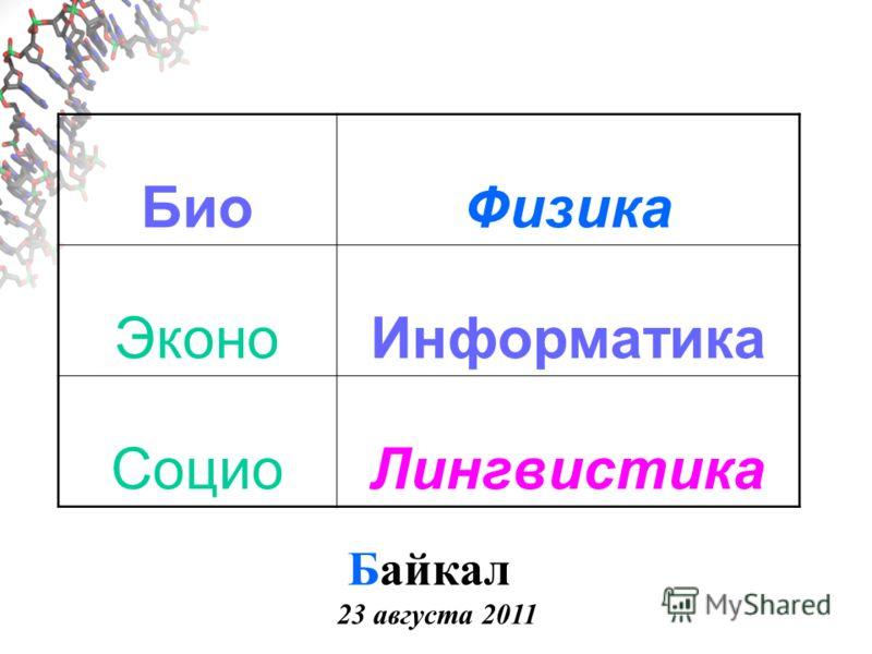 БиоФизика ЭконоИнформатика СоциоЛингвистика Байкал 23 августа 2011