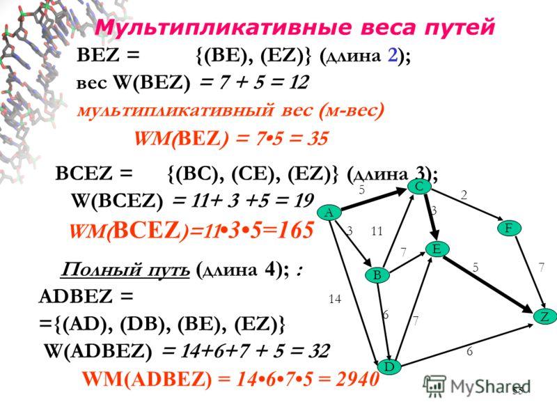 55 Мультипликативные веса путей BEZ = {(BE), (EZ)} (длина 2); вес W(BEZ) = 7 + 5 = 12 мультипликативный вес (м-вес) WM( BEZ ) = 75 = 35 BCEZ = {(BC), (CE), (EZ)} (длина 3); W(BCEZ) = 11+ 3 +5 = 19 WM( BCEZ )=11 35=165 Полный путь ( длина 4); : ADBEZ
