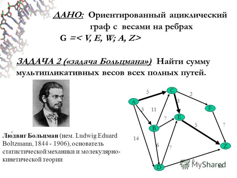 56 ДАНО: Ориентированный ациклический граф с весами на ребрах G = ЗАДАЧА 2 («задача Больцмана») Найти сумму мультипликативных весов всех полных путей. A C Z B E F D 5 2 3 7 113 14 6 5 7 6 7 Лю́двиг Больцман (нем. Ludwig Eduard Boltzmann, 1844 - 1906)