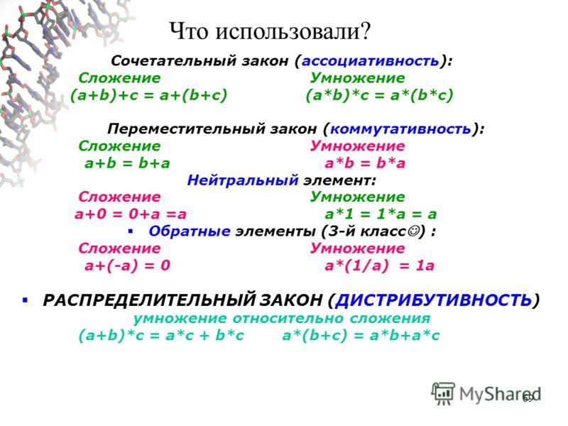 69 Сочетательный закон (ассоциативность): Сложение Умножение (a+b)+c = a+(b+c)(a*b)*c = a*(b*c) Переместительный закон (коммутативность): Сложение Умножение a+b = b+a a*b = b*a Нейтральный элемент: Сложение Умножение a+0 = 0+a =а a*1 = 1*a = a Обратн