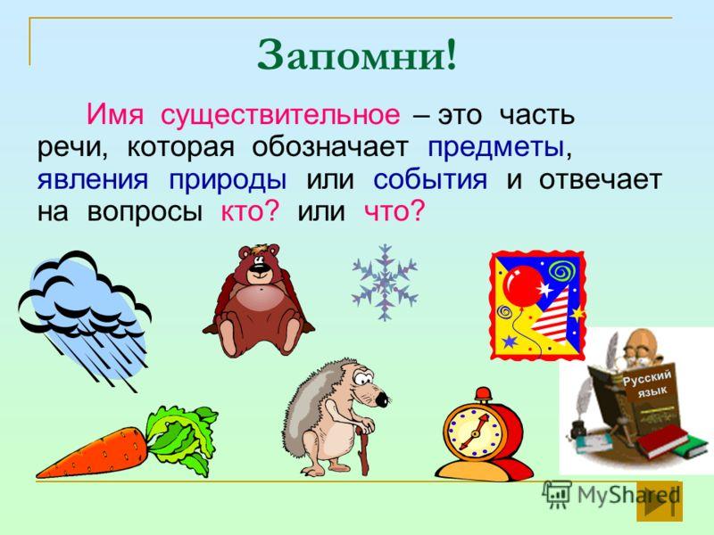 Запомни! Имя существительное – это часть речи, которая обозначает предметы, явления природы или события и отвечает на вопросы кто? или что? Русский язык