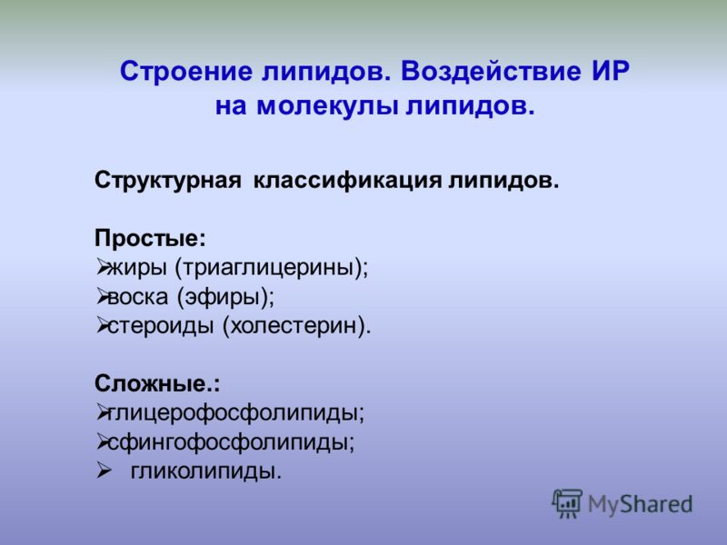 Строение липидов. Воздействие ИР на молекулы липидов. Структурная классификация липидов. Простые: жиры (триаглицерины); воска (эфиры); стероиды (холестерин). Сложные.: глицерофосфолипиды; сфингофосфолипиды; гликолипиды.