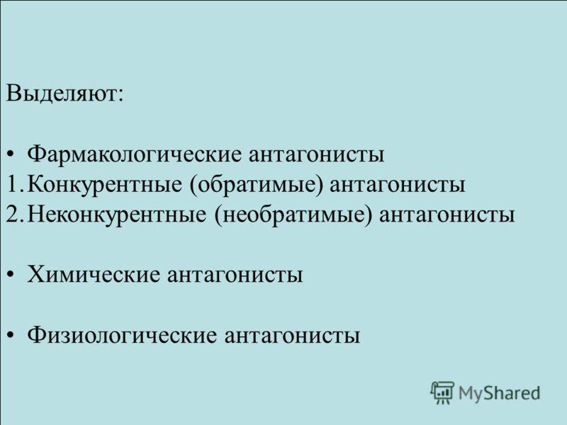 Выделяют: Фармакологические антагонисты 1.Конкурентные (обратимые) антагонисты 2.Неконкурентные (необратимые) антагонисты Химические антагонисты Физиологические антагонисты