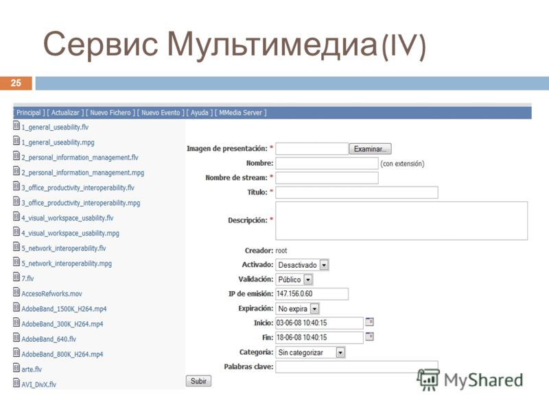 Servei d'Informàtica UVEG - 2008 25 Сервис Мультимедиа (IV)