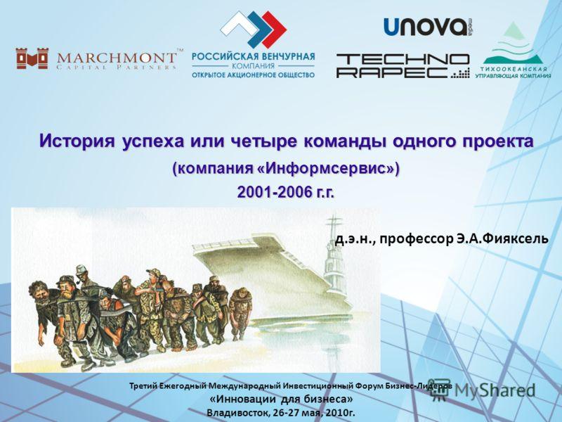 История успеха или четыре команды одного проекта (компания «Информсервис») 2001-2006 г.г. Третий Ежегодный Международный Инвестиционный Форум Бизнес-Лидеров «Инновации для бизнеса» Владивосток, 26-27 мая, 2010г. д.э.н., профессор Э.А.Фияксель