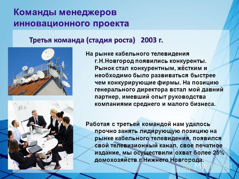 На рынке кабельного телевидения г.Н.Новгород появились конкуренты. Рынок стал конкурентным, жёстким и необходимо было развиваться быстрее чем конкурирующие фирмы. На позицию генерального директора встал мой давний партнер, имевший опыт руководства ко