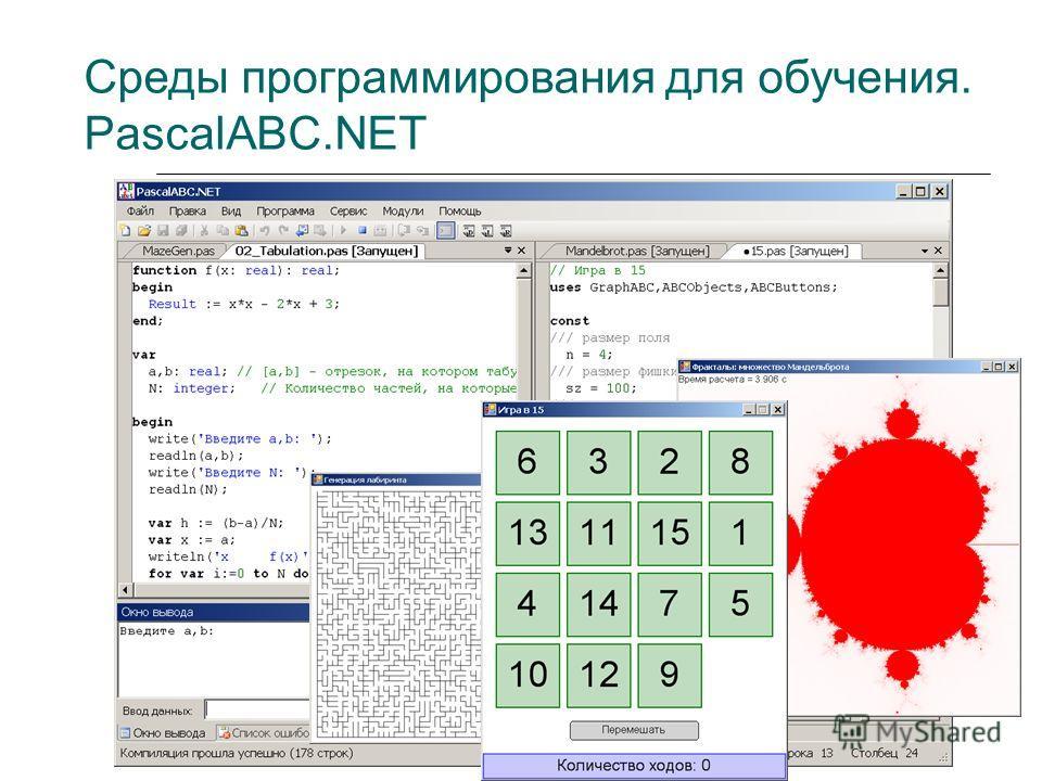 Среды программирования для обучения. PascalABC.NET