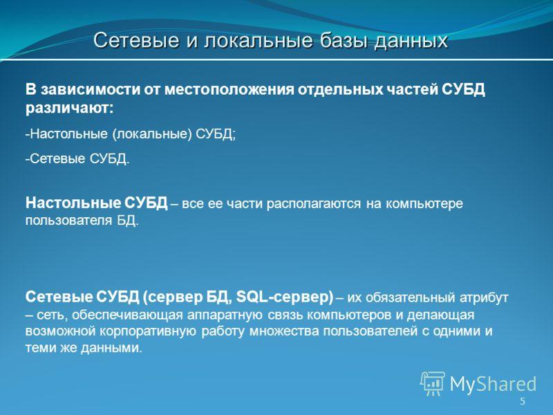 5 Сетевые и локальные базы данных В зависимости от местоположения отдельных частей СУБД различают: -Настольные (локальные) СУБД; -Сетевые СУБД. Настольные СУБД – все ее части располагаются на компьютере пользователя БД. Сетевые СУБД (сервер БД, SQL-с