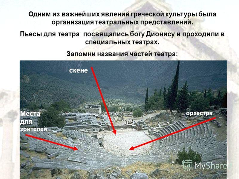 Одним из важнейших явлений греческой культуры была организация театральных представлений. Пьесы для театра посвящались богу Дионису и проходили в специальных театрах. Запомни названия частей театра: Места для зрителей скене орхестра